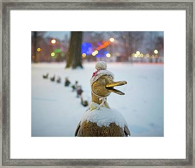 Make Way For Ducklings Winter Hats Boston Public Garden Christmas Framed Print