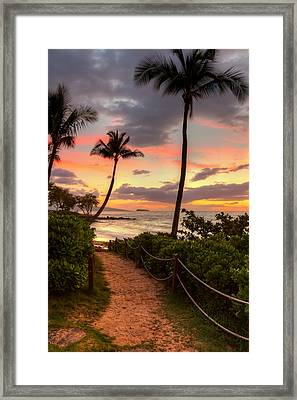 Framed Print featuring the photograph Makena Sunset Path by Susan Rissi Tregoning