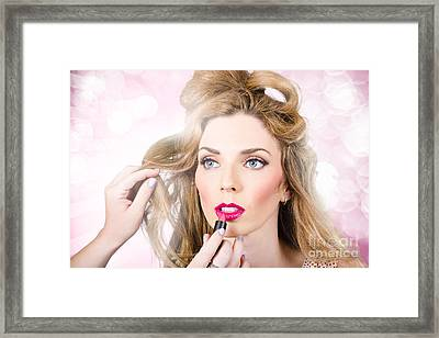 Makeup Artist Applying Lipstick On Beauty Model Framed Print