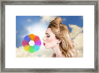 Makeup Beauty Girl Blowing Hair Colors Palette Framed Print