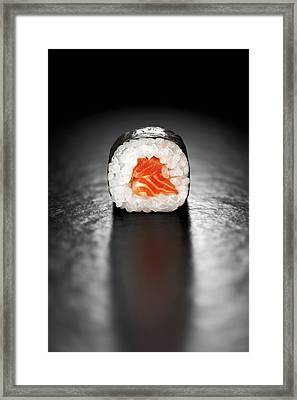 Maki Sushi Roll With Salmon Framed Print