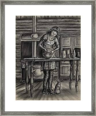 Making Bread In The Cabin Framed Print