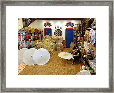 Framed Print featuring the photograph Making Chinese Paper Umbrellas by Yali Shi