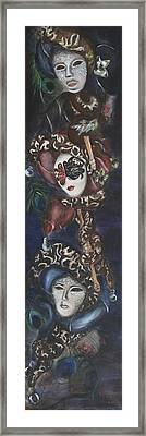 Framed Print featuring the painting Making Faces Venetian by Nik Helbig