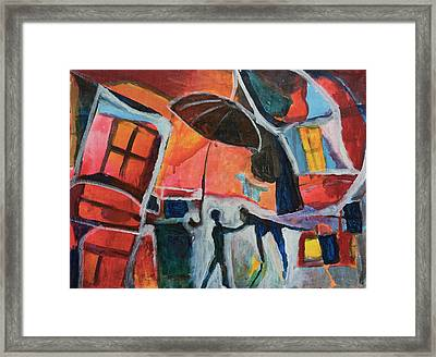 Framed Print featuring the painting Making Friends Under The Umbrella by Susan Stone