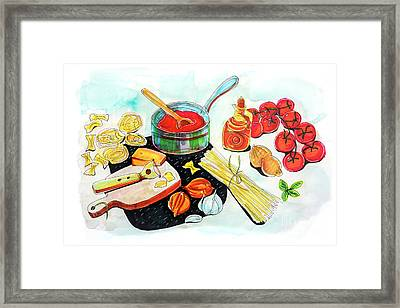 Framed Print featuring the drawing making Italian tomato's sauce by Ariadna De Raadt