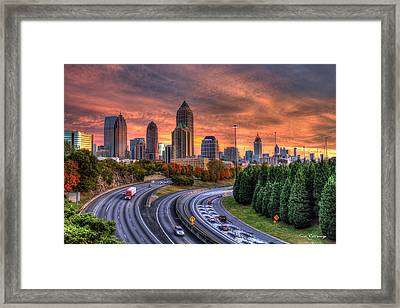 Making The Curve Atlanta Midtown To Downtown Framed Print by Reid Callaway