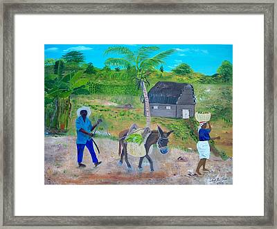 Framed Print featuring the painting Making Way For The Donkey by Nicole Jean-Louis