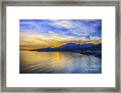 Makrygialos Sunset Digital Painting Framed Print by Antony McAulay