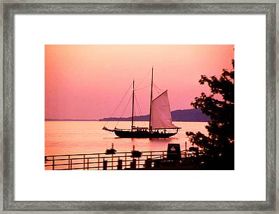 Malabar X Sailboat At Sunset Framed Print by Roger Soule