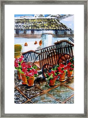 Malaga Spain Flower Cart Framed Print by Mindy Newman