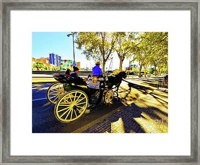 Malaga Paseo Del Parque Romantic Horse And Carriage Ride Framed Print by Wilf Doyle