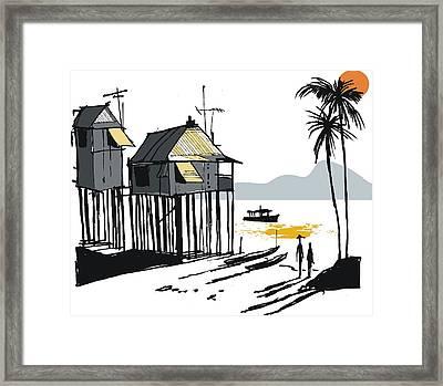 Malaysian Fishing Village  Framed Print