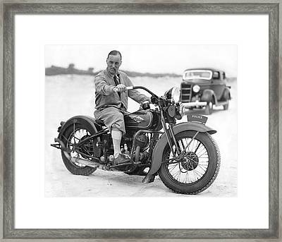 Malcolm Campbell On A Harley Framed Print by Underwood Archives