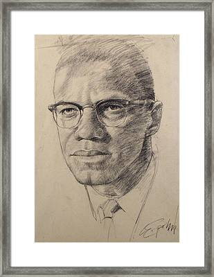 Framed Print featuring the drawing Malcolm X by Cliff Spohn