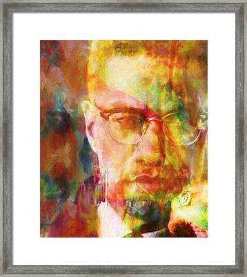 Malcolm X Framed Print by Dan Sproul