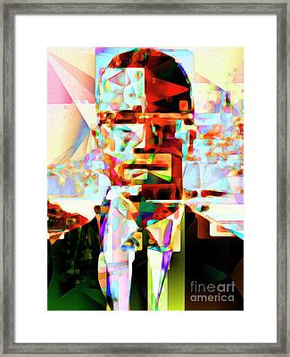 Malcolm X In Abstract Cubism 20170329 Framed Print