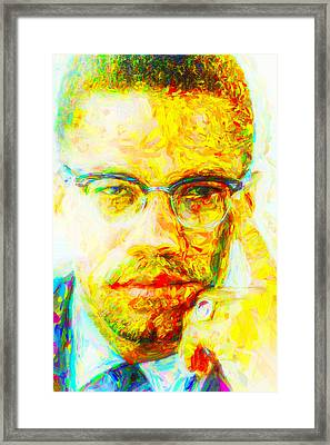 Malcolm X Painted Digitally 2 Framed Print
