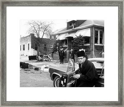 Malcolm X, Returns Home After His House Framed Print