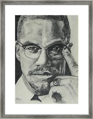 Malcolm X Framed Print by Stephen Sookoo