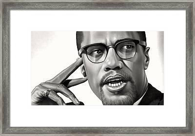 Malcolm X Drawing Framed Print