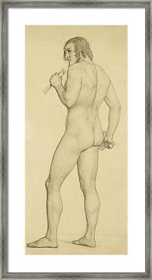 Male - Academic Nude Study Posed As A Sculptor Framed Print by Ford Madox Brown