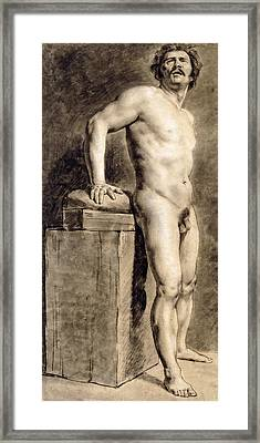 Male Academy Figure Framed Print by Ferdinand Victor Eugene Delacroix