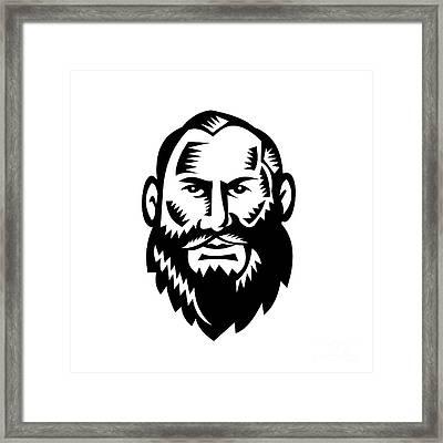 Male Big Beard Woodcut Framed Print