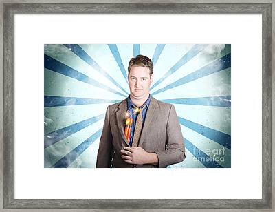 Male Business Person With Bombs. Power Struggle Framed Print by Jorgo Photography - Wall Art Gallery