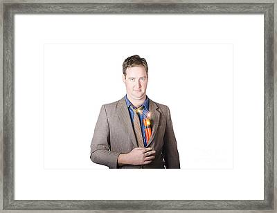 Male Business Person With Explosives In Jacket Framed Print by Jorgo Photography - Wall Art Gallery