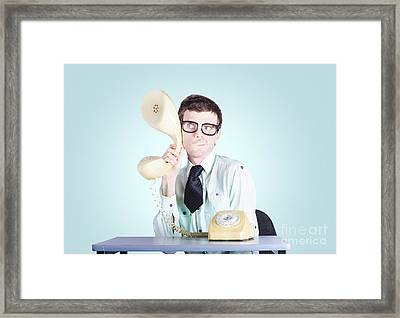 Male Business Spy Conducting Competitor Analysis Framed Print