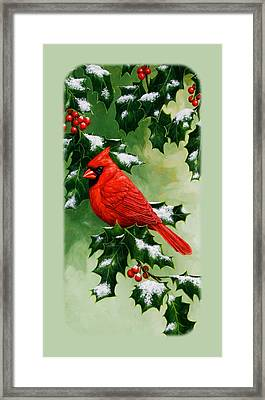Male Cardinal And Holly Phone Case Framed Print