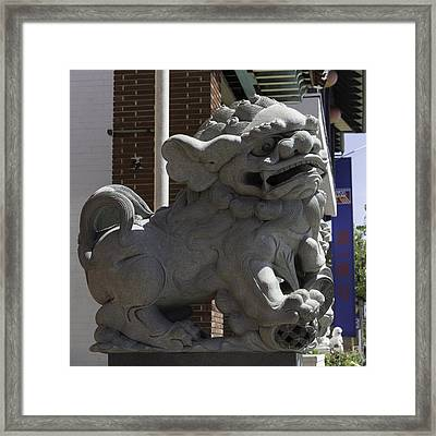 Male Chinese Guardian Lion Framed Print