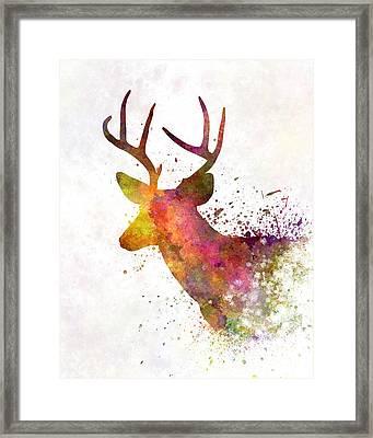 Male Deer 02 In Watercolor Framed Print