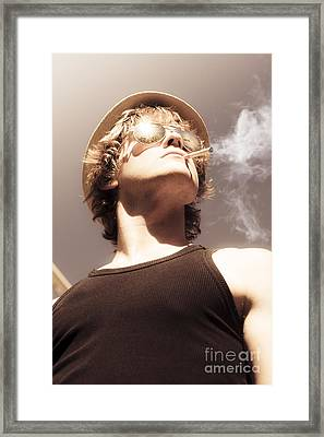 Male Glamour Model Smoking Tobaco Framed Print by Jorgo Photography - Wall Art Gallery