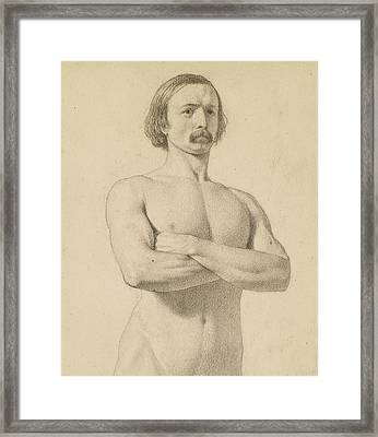 Male Nude - Academic Nude Study, Half-length With Moustache And Arms Folded  Framed Print by Ford Madox Brown