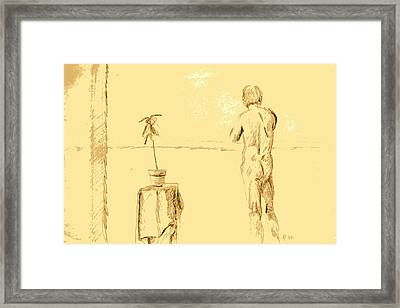 Male Nude By House Plant Framed Print by Sheri Buchheit