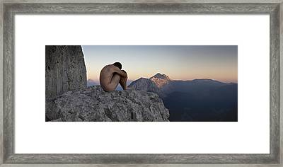 Male Nude In The Mountain Framed Print by Fernando Alvarez