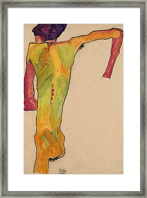 Male Nude, Propping Himself Up Framed Print by Egon Schiele