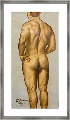Male Nude Self Portrait By Victor Herman Framed Print by Joni Herman