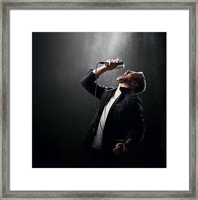 Male Singer Performing Framed Print by Johan Swanepoel