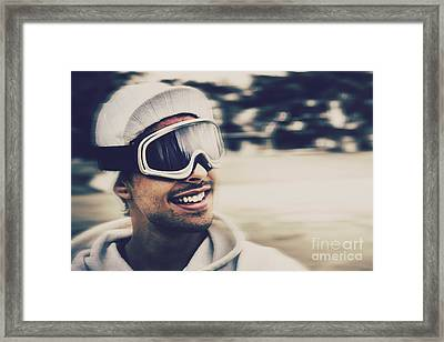 Male Snowboarder Wearing Ski Goggles And Smile Framed Print by Jorgo Photography - Wall Art Gallery