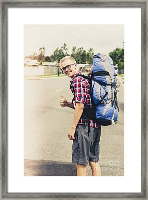 Male Traveller Giving Thumbs Up Framed Print
