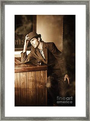 Male Undercover Detective In Speakeasy Bar Framed Print by Jorgo Photography - Wall Art Gallery