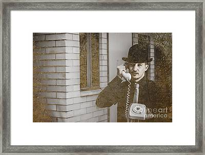 Male Vintage Detective On Old Phone Framed Print by Jorgo Photography - Wall Art Gallery