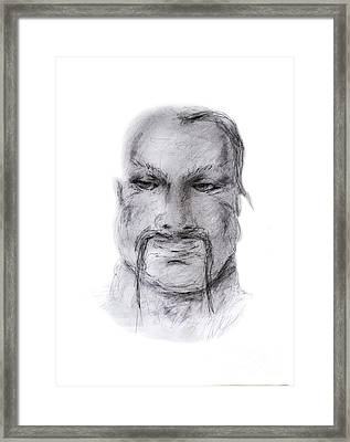 Male With Forelock And Mustache Framed Print by Anastasiya Ramanenka