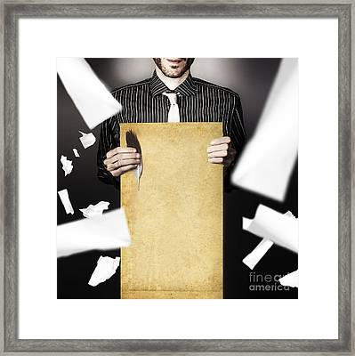 Male Writer Holding Quill And Blank Story Scroll Framed Print