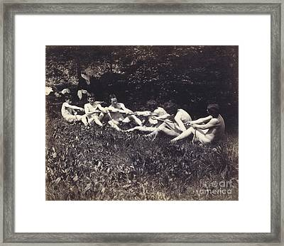 Males Nudes In A Seated Tug-of-war Framed Print by Thomas Cowperthwait Eakins
