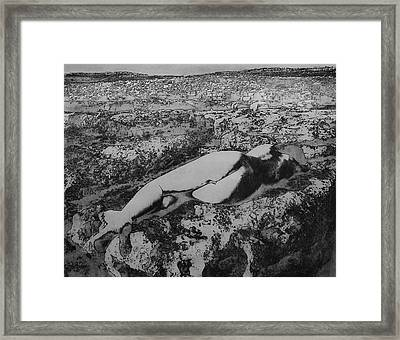 Framed Print featuring the photograph Malham Cove Nude, Yorkshire by Richard Wiggins