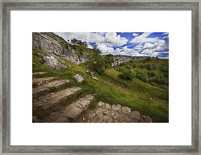 Framed Print featuring the photograph Malham Cove, Yorkshire, Uk by Richard Wiggins